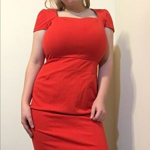 red-orange structures dress